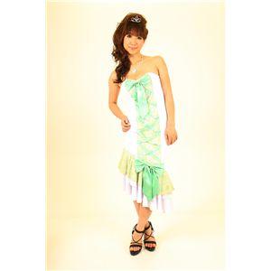 ナイトドレス レースアップ 緑/白