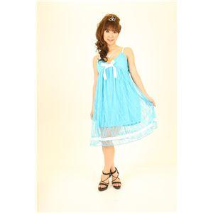 ナイトドレス レースミドル丈ワンピ (水色)