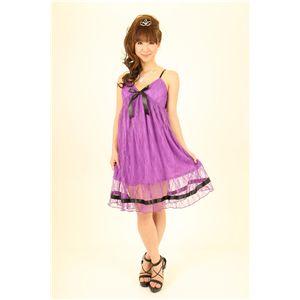 ナイトドレス レースミドル丈ワンピ (紫色)