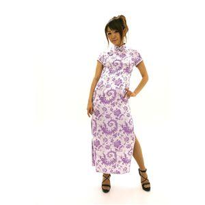 Men'sチャイナ 半袖ロング 大花羽 白/薄紫
