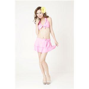 スカート付き単色 ピンク水着