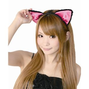 【コスプレ】 フワフワ猫耳カチューシャ 前耳 黒/ピンク 2個セット 4560320821885 - 拡大画像