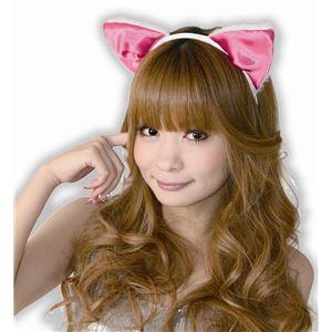 【コスプレ】 フワフワ猫耳カチューシャ 前耳 白/ピンク 2個セット 4560320821892
