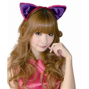 フワフワ猫耳カチューシャ 前耳 ピンク/紫 2個セット - 拡大画像
