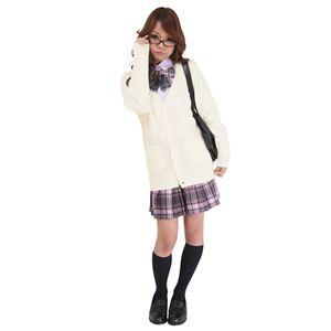 制服 コスプレ衣装 【カーディガン ホワイト Lサイズ】 洗える アクリル 『TeensEver』 〔イベント〕 の画像