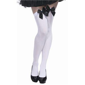 【コスプレ】 【ハロウィン】 Knee high stocking bow top White with Black bow(ニーハイソックス 白地に黒リボン) 4560320843634 - 拡大画像