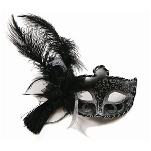 【コスプレ】 【ハロウィン】 Black Half Venetian Mask V008C(ブラックヴェネチアンマスク) 4560320843696