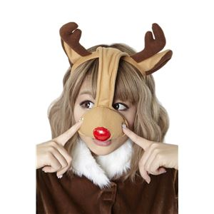 【クリスマスコスプレ】赤鼻トナカイカチューシャ - 拡大画像