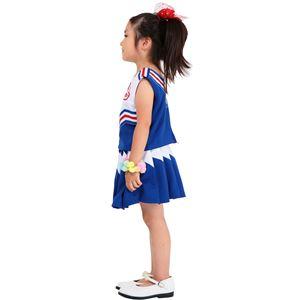 子供用 コスプレ衣装 【キッズジョブ チアガール ブルー 120サイズ】 洗える ポリエステル 〔ハロウィン〕