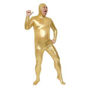 全身タイツ/コスプレ衣装 【ゴールド Lサイズ】 身長180cm迄 洗える ポリエステル 『のびのび全身タイツくん』