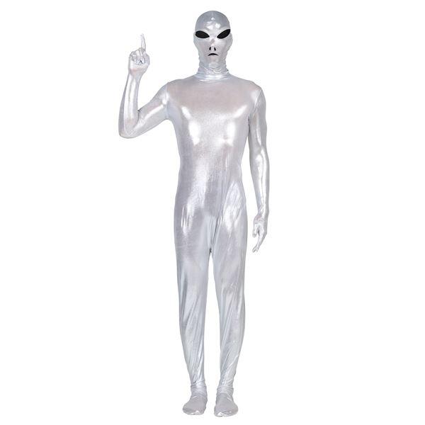 宙人衣装・メタリック シルバー/銀色】コスの極み 宇宙人タイツ