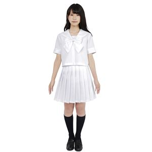 制服/コスプレ衣装 【ホワイト Lサイズ】 洗える セーラーブラウス リボン スカート付き ポリエステル 『カラーセーラー』 の画像