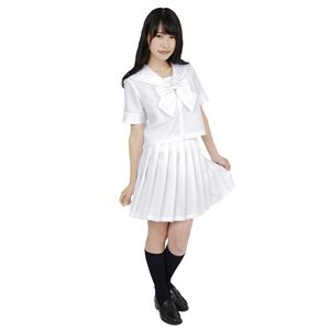 制服/コスプレ衣装 【ホワイト 4Lサイズ】 洗える セーラーブラウス リボン スカート付き ポリエステル 『カラーセーラー』