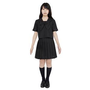 制服/コスプレ衣装 【ブラック 4Lサイズ】 洗える セーラーブラウス リボン スカート付き ポリエステル 『カラーセーラー』 の画像
