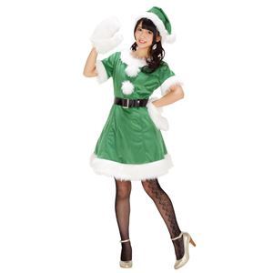 【クリスマスコスプレ 衣装】 カラフルサンタ グリーン 緑