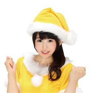 【クリスマスコスプレ 衣装】 サンタ帽子 イエロー 黄 - 拡大画像