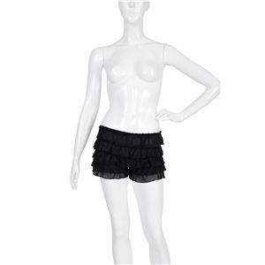 ペチコートパンツ 【ブラック Lサイズ】 ウエスト56cm~84cm 洗える ウエストゴム 〔コスプレ ミニスカート〕
