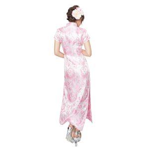 ロングタイプ チャイナドレス 【羽柄 ホワイト×ピンク Lサイズ】 ドライクリーニング可 ポリエステル 〔コスプレ〕