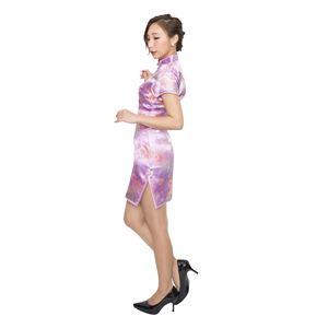 ミニタイプ チャイナドレス 【花柄 バイオレット Lサイズ】 ドライクリーニング可 ポリエステル 〔コスプレ〕