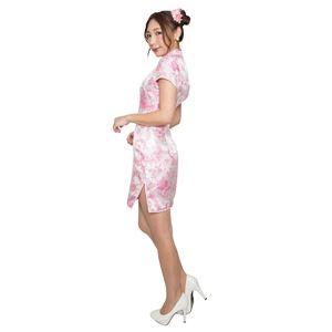 ミニタイプ チャイナドレス 【羽柄 ホワイト×ピンク Sサイズ】 ドライクリーニング可 ポリエステル 〔コスプレ〕