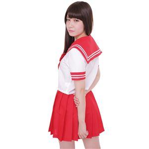 制服/コスプレ衣装 【レッド 4Lサイズ】 洗える セーラーブラウス リボン スカート付き ポリエステル 『カラーセーラー』