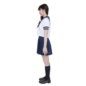 制服/コスプレ衣装 【ネイビー Lサイズ】 洗える セーラーブラウス リボン スカート付き ポリエステル 『カラーセーラー』 の画像