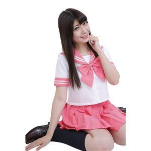 制服/コスプレ衣装 【ピンク Mサイズ】 洗える セーラーブラウス リボン スカート付き ポリエステル 『カラーセーラー』