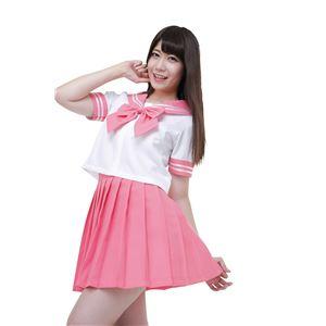 制服/コスプレ衣装 【ピンク Lサイズ】 洗える セーラーブラウス リボン スカート付き ポリエステル 『カラーセーラー』 の画像
