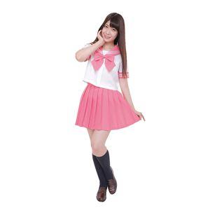 制服/コスプレ衣装 【ピンク 4Lサイズ】 洗える セーラーブラウス リボン スカート付き ポリエステル 『カラーセーラー』