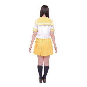 制服/コスプレ衣装 【イエロー Lサイズ】 洗える セーラーブラウス リボン スカート付き ポリエステル 『カラーセーラー』