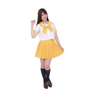 制服/コスプレ衣装 【イエロー 4Lサイズ】 洗える セーラーブラウス リボン スカート付き ポリエステル 『カラーセーラー』