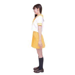 制服/コスプレ衣装 【イエロー 4Lサイズ】 洗える セーラーブラウス リボン スカート付き ポリエステル 『カラーセーラー』 の画像