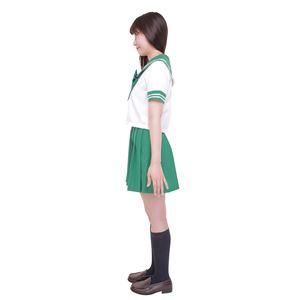 制服/コスプレ衣装 【グリーン Mサイズ】 洗える セーラーブラウス リボン スカート付き ポリエステル 『カラーセーラー』