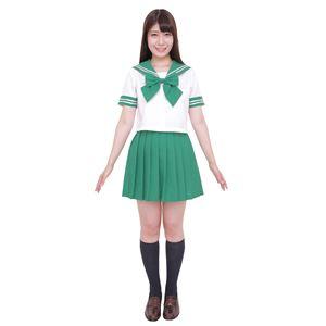 制服/コスプレ衣装 【グリーン Lサイズ】 洗える セーラーブラウス リボン スカート付き ポリエステル 『カラーセーラー』