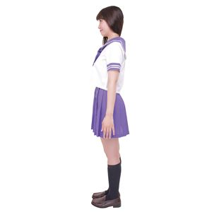 制服/コスプレ衣装 【パープル 4Lサイズ】 洗える セーラーブラウス リボン スカート付き ポリエステル 『カラーセーラー』 の画像