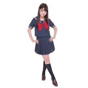 制服/コスプレ衣装 【ネイビー×ネイビー Lサイズ】 洗える セーラーブラウス リボン スカート付き 『カラーセーラー』