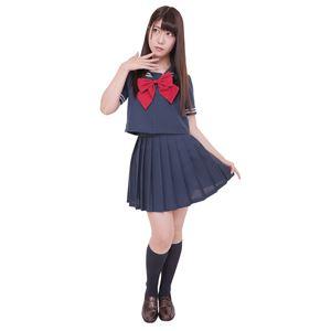 制服/コスプレ衣装 【ネイビー×ネイビー 4Lサイズ】 洗える セーラーブラウス リボン スカート付き 『カラーセーラー』