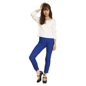 ウルトラフィツト美脚パンツ 裾ギャザー 青 Sサイズ