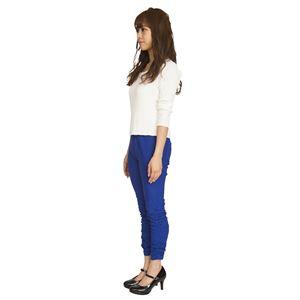 ウルトラフィツト美脚パンツ 裾ギャザー 青 Lサイズ