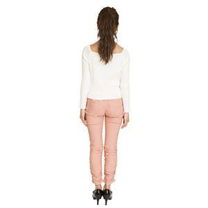 ウルトラフィツト美脚パンツ 裾ギャザー ピンク Sサイズ