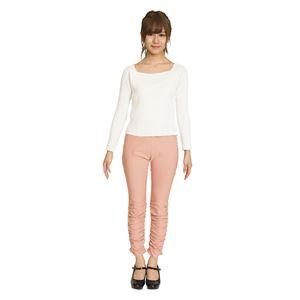 ウルトラフィット美脚パンツ 裾ギャザー ピンク Lサイズ