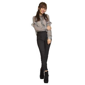 ウルトラフィツト美脚パンツ 裾ギャザー 黒デニム Mサイズ