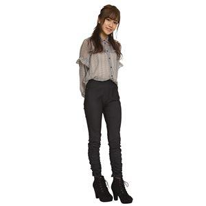 ウルトラフィット美脚パンツ 裾ギャザー 黒デニム Lサイズ