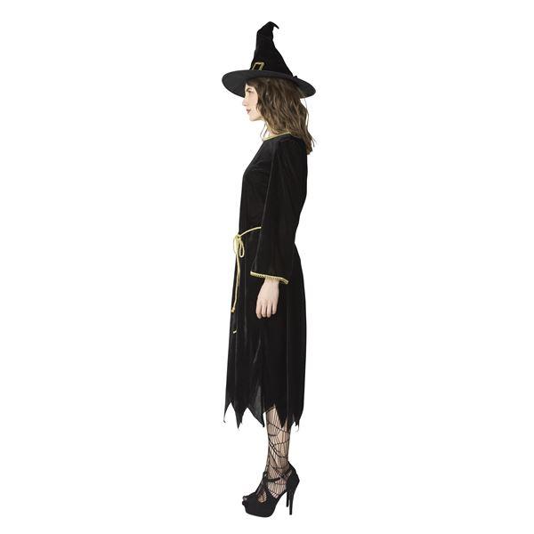 【ハロウィンコスプレ/丈長め/黒の魔女衣装】 ブラックナイトウィッチ