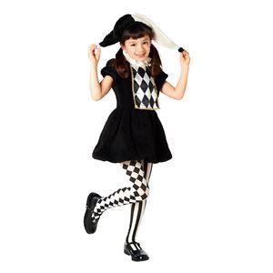 子供用 コスプレ衣装 【ワンダーピエロガール 120cmサイズ】 帽子 ワンピース付き ポリエステル 〔ハロウィン〕