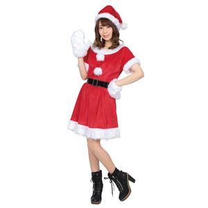 【クリスマスコスプレ 衣装】 カラフルサンタ レディース レッド - 拡大画像