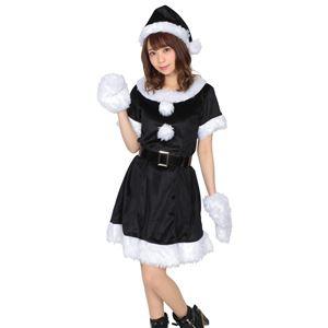 【クリスマスコスプレ 衣装】 カラフルサンタ レディース ブラック - 拡大画像