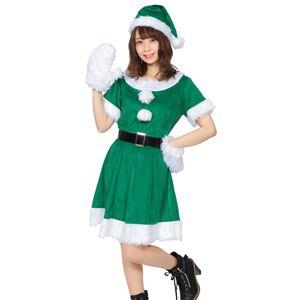 【クリスマスコスプレ 衣装】 カラフルサンタ レディース グリーン - 拡大画像