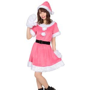 【クリスマスコスプレ 衣装】 カラフルサンタ レディース ピンク - 拡大画像