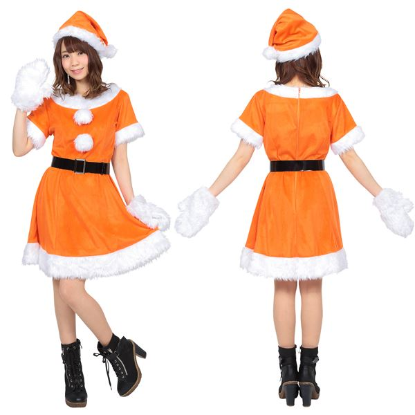 【サンタコスプレ/オレンジ/レディース】 カラフルサンタ レディース オレンジ